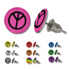 Multi Colour PEACE Sign Symbol Stainless Steel Ear Stud Earrings
