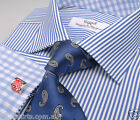 Blue Dot Striped Business Dress Shirt Contrast Checkered Light Inner Lining Boss