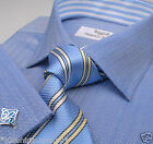 Dark Blue Herringbone Business Dress Shirt Light Striped Designer Sydney Boss A+