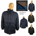 Mens Fur Lined Bubble Hooded Winter Quilted Fleece Puffer Puffa Jacket Hood Zip
