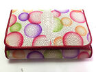 NEW!100% GENUINE STINGRAY LEATHER CLUTCH WALLET,TRI-FOLD  IVORY MULTI COLOUR