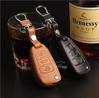 Fit For Audi Car Smart/Fold Key Leather Case Chain Cover Bags with buckle Holder
