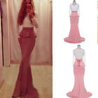 Women's Mermai Lace long Prom Sleeve Bridesmaid Evening Pageant Party Dress