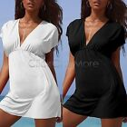 MON - Ladies Beach Kaftan Fashion Dress Cover Up Bikini Black White