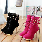 Women's Rivet Lace Up Ankle Boots Platform High Heel Winter Boots Buckle Shoes#