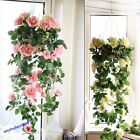 9Pcs Artificial Silk Rose Flower Ivy Vine Hanging Garland Party Home Decor