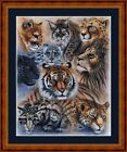 BIG CATS -  14 COUNT CROSS STITCH CHART (DMC THREADS) FREE PP WORLDWIDE
