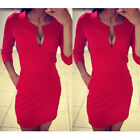 Women Sexy Red Black Bodycon Cocktail Party Evening Slim Mini Dresses Size 10-18