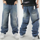 New Fashion Mens Baggy Loose Denim Stonewashed Jeans Hip-Hop Street wear Pants
