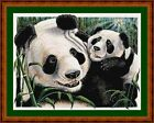 FIRST BORN PANDAS - 14 COUNT CROSS STITCH CHART (DMC THREADS) FREE PP WORLDWIDE