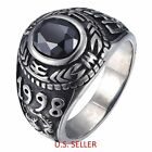 Men's 316L Stainless Steel Black Zirconia Dragon Pattern Biker Ring Size 8-13 US
