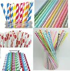 25  STRAWS  PAPER DRINKING PARTY BIRTHDAY WEDDING POLKA HEART STRIPE UK