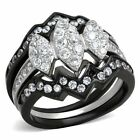 Marquis CZ Ring Set Cluster Black Stainless Steel 1.95 CT 3 piece Wedding