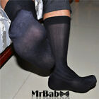 8Pairs Lot Men's Black Striped Sheer Dress Socks,New Fashion Work Socks For Men