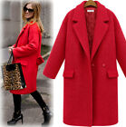 New Fashion Womens Warm Large Lapel Wool Double Breasted Long Parka Coat Outwear
