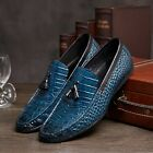 NEW Men's Cow Leather Shoes Dress Formal Business D8661 Slip on Brown Blue 6~11
