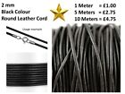 Real Leather Cord Black 2mm Round String Lace Thong Necklace & Jewellery Making