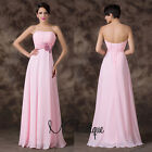 Pink Floral Chiffon Strapless Prom Bridesmaid Wedding Maxi Dress Size AU6-20