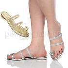 WOMENS LADIES LOW HEEL FLAT TOE RING DIAMANTE STRAPPY FLIP FLOP SANDALS SIZE