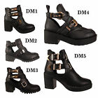 LADIES WOMENS CUT OUT BOOTS FLAT LOW HEEL STRAPPY BIKER CHELSEA ANKLE SHOES SIZE