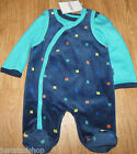 Fixoni baby boy bodysuit all-in-one velour babygro set x 2 56 cm 0-3 m BNWT