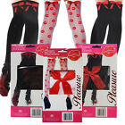 WOMENS SEXY STOCKINGS RED BOW PLEASURE ROLE PLAY DRESS UP FUN SEDUCTIVE TIGHTS