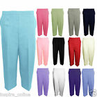 LADIES WOMENS 3/4 LENGTH STRETCH HALF ELASTICATED WAIST CAPRI CROPPED TROUSERS