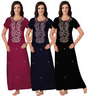 WOMENS100% COTTON LONG NIGHTDRESS NIGHTY CHEMISE EMBROIDERY DETAILED SIZE 14-22