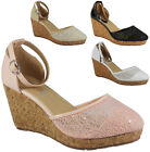 NEW WOMENS LADIES ANKLE STRAP PLATFORM SEQUIN MID HEEL WEDGE SHOES SANDALS SIZE