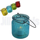 LANTERN TEALIGHT HOLDER WITH CARRY HOLDER COLOURFUL CANDLE INDOOR OUTDOOR PARTY