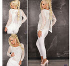 White Layered Jumper Top Sequin Split Back Chiffon Vest Lagenlook Size 10 12