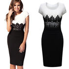 Womens Fashion Lace Scoop Neck Party Pencil Cocktail Evening Bodycon Gown Dress