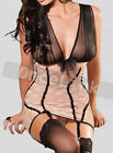 Sexy Lingerie Babydoll Nightie Lace Corset Open Cup Bra Garter Belt + Stockings