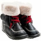 Girls Boys Toddler Childrens Leather Squeaky Boots - Black with Fleecy Inners