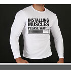 INSTALLING MUSCLE Long Sleeve T Shirt Top - GYM VEST TRAIN HARD BODYBUILDING FIT