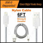 Braided Nylon Charging Data Syncing 6FT USB Cables Fits iPhone 6s Plus 6 5s 5c