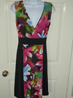 Ladies Black Floral Crossover Bust Skater Dress. BNWT Sizes 8-20. (199)