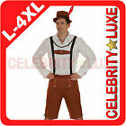 New Mens Oktoberfest Lederhosen German Bavarian Beer Brown Fancy Dress Costume
