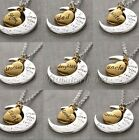 """2015 Gold/Silver Family I LOVE YOU TO THE MOON AND BACK """"Necklace Charm Pendant"""