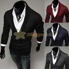 Fashion Mens Slim Fit Button Cotton Knit V-Neck Casual Jumper Sweater Cardigan