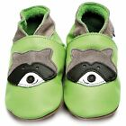 Inch Blue Girls Boys Luxury Leather Soft Sole Baby Shoes - Raccoon Green
