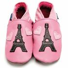 Inch Blue Girls Boys Luxury Leather Soft Sole Baby Shoes - Eiffel Tower Pink