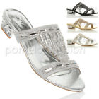WOMENS LADIES LOW BLOCK HEEL DIAMANTE GEM EVENING MULES SANDALS FLIP FLOPS SIZE