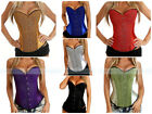 Shiny Satin Burlesque Boned Overbust Outerwear Corset Bustier Sexy Costume S-XXL