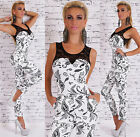 Sexy Womens Party Jumpsuit Catsuit Overall Lace White&Black Sizes UK 8 10 12