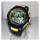 Mens Boys Dual Time Digital LCD Date Day Alarm Rubber Strap Sport Quartz Watch