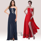 Chiffon High Low Strapless Jewel Prom Bridesmaid Wedding Maxi Dress Size AU6-20