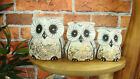SET OF 3 STUBBY OWLS, HAND MADE AND HAND PAINTED