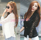 2015 Women Long Sleeve Lace Crochet Lapel Blazer Short Jacket Suit Blouse Coat