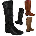 NEW WOMENS LADIES MID-CALF BIKER RIDER ZIP FLAT WINTER FASHION BOOTS SHOES SIZE
